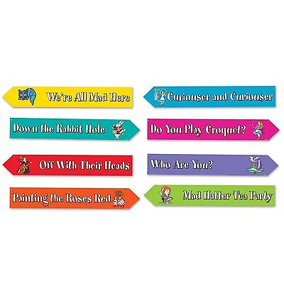 Alice In Wonderland Cutouts (4 ALICE IN WONDERLAND Party STREET SIGN CUTOUTS Decorations 4