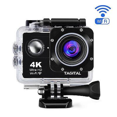 Tagital 4K 1080P Sports Action DV Camera Waterproof LCD Screen HDMI WIFI