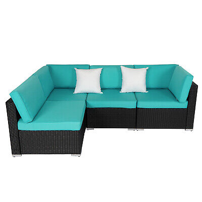 4 Piece Outdoor Patio Sectional Furniture Sets Wicker Rattan Sofa W/ 2 Pillows 4 Piece Outdoor Wicker