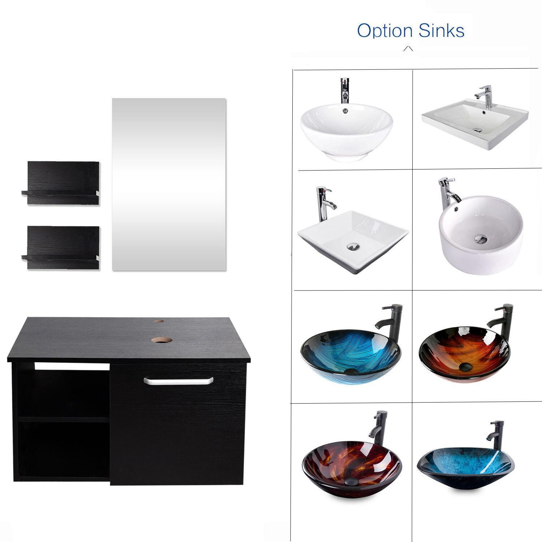 "28"" Vanity Cabinet Bathroom Single Top Vessel Sink Bowl Fauc"