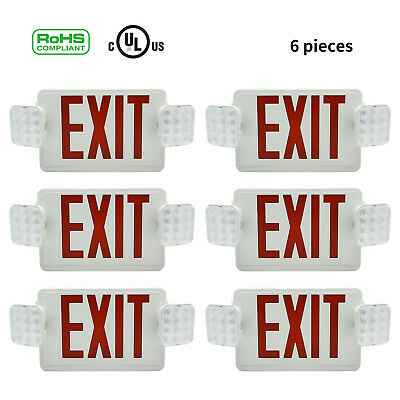Red Emergency Exit Light Sign Combo - Modern Battery Backup Easy Universal Mount