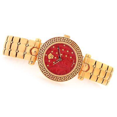 Versace Women's VQM150016 Vanitas Micro Red Dial Gold IP Steel Wristwatch