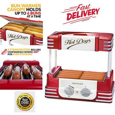 Hot Dog Warmer Roller Cooker Regular Size Bun Steel Sausage Egg Roll Retro Set