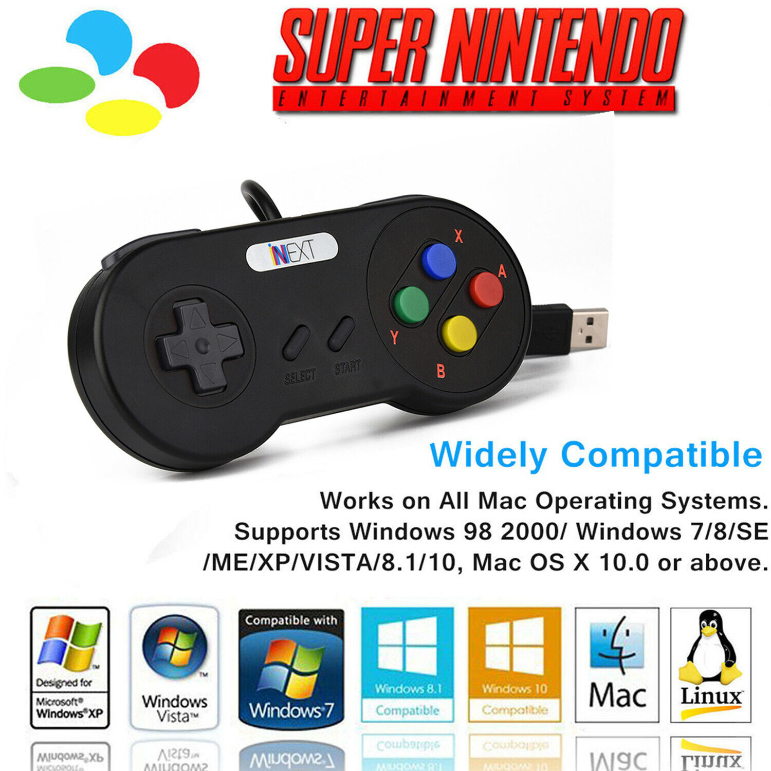 Details about 4x Super Classic SNES USB Controller Game Pad For Windows PC  MAC Linux Games US