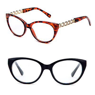 Black Temple Chain (Cat Eye Fashion Reading Glasses Chain Link Temple Design Red Black )