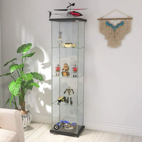 "4-Shelf Glass Curio Display Cabinet Rectangular Black Cabinet 64"" x 17""x 14.5"""