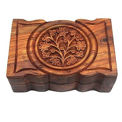 """Wooden Carved Tarot Box Tree of Life Wood Wicca Pagan 4"""" X 6"""" inches Curvy Edges"""