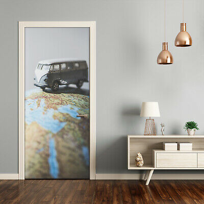 Self adhesive Door wrap removable Peel & Stick Maps & flags Van on the globe