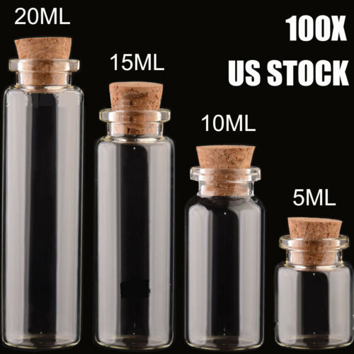 24/100 Glass Bottles with Cork Stopper Tiny Vials Storage Crafts 5/10/15/20ML