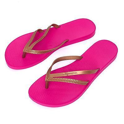 Ipanema Women's flip flops Rubber Sandals thong Brazil Pink Rosa Gold Strap New
