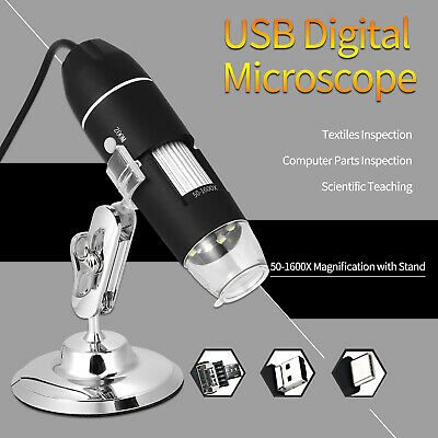 Usb Digital Zoom 1600x Microscope Magnifier With Otg 8-led Light Stand
