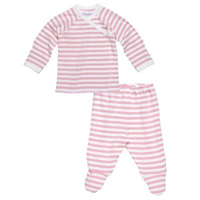 Under The Nile 2 Piece Side Snap L/ S Layette Set Blush/Off-White 3-6 months  Side Snap Layette Set