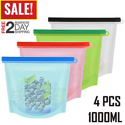 Reusable Food Storage Silicone Bags Leak-Proof Fresh Ziplock Produce Bags 4 PC