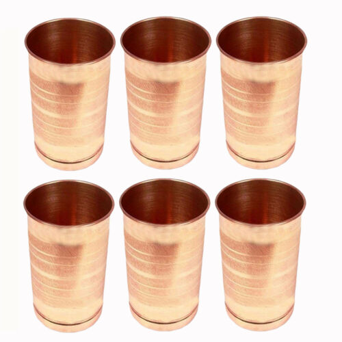 Copper Water Drinking Tumbler Glass Indian Handmade Tableware Accessories 6 Pcs