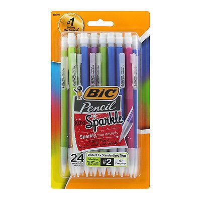 Bic Xtra Sparkle Mechanical Pencils, 0.7mm, HB #2, Assorted Barrels, Pack of 24