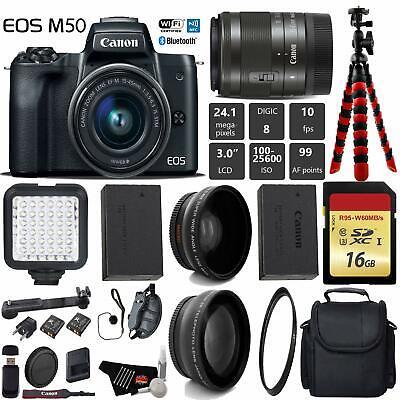 Canon EOS M50 Mirrorless Digital Camera +15-45mm Lens D + UV FLD CPL Filter Kit