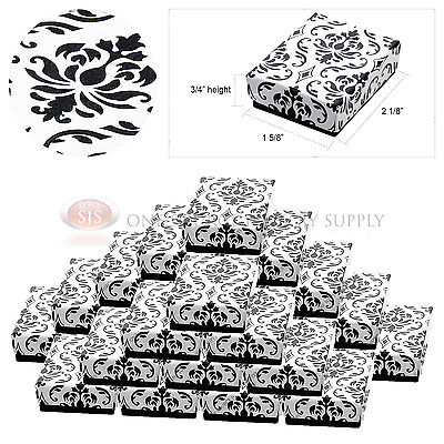 """25 Black Damask Print Cotton Filled Cardboard Jewelry Gift Boxes 2 1/8"""" x 1 5/8"""""""