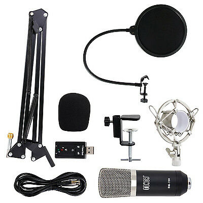 TONOR Black Professional Condenser Microphone Studio Mic Recording with Stand