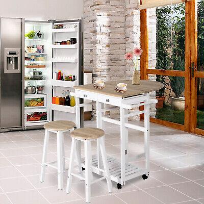 3PCS Wood Kitchen Dining Table Set with 2 Stools Folding Trolley Wheel Pub Cart