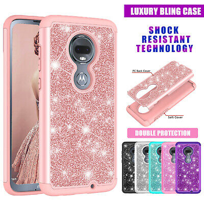 For Motorola Moto G7 G6 E5 Plus power paly Case Shockproof  luxury Glitter Cover
