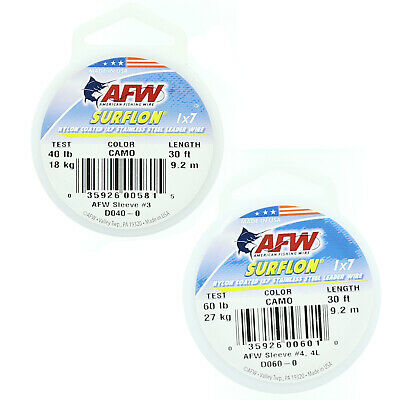 AFW American Fishing Wire Surflon Nylon Coated Stainless Steel Leader Wire Camo