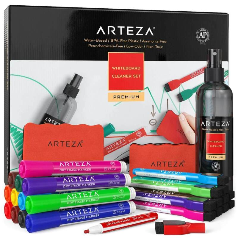 ARTEZA Whiteboard Cleaner Set with 24 Dry Erase Markers