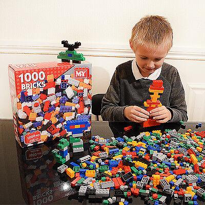 Kids Building Bricks Blocks 1000 Piece Construction Creative Set Build Toys Game