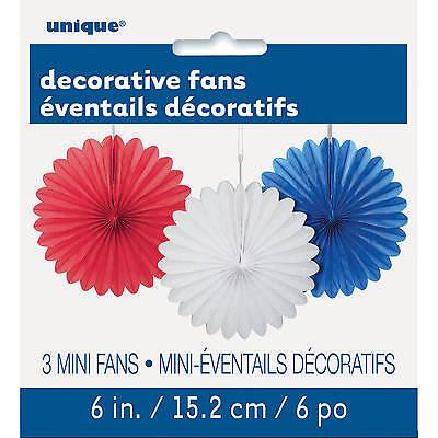 Mini Paper Fans (3 MINI PAPER FANS RED WHITE & BLUE PARTY HANGING DECORATIONS AUSTRALIA DAY)
