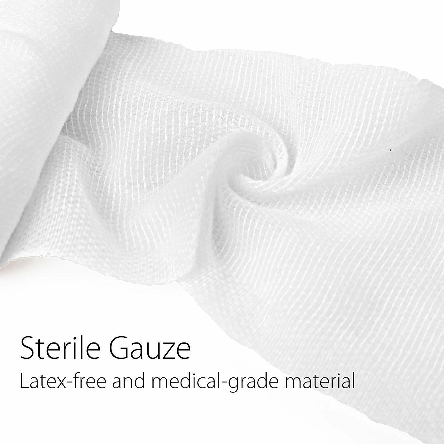 NEW 4''X4 YARD GAUZE BANDAGE ROLLS STRETCHED STERILE FIRST AID KIT MEDICAL TAPE WRAP
