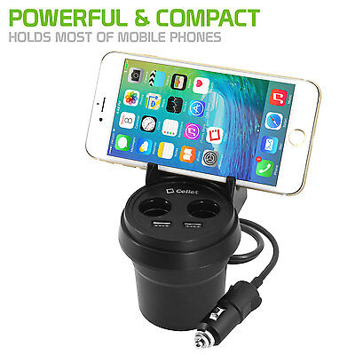 Cellet Cup Holder Charger, 2 USB Ports + 2 Cigarette Lighter
