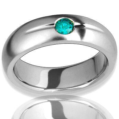 Titanium Ring with Green Diamond Promise Handmade Comfort Fit Engagement -