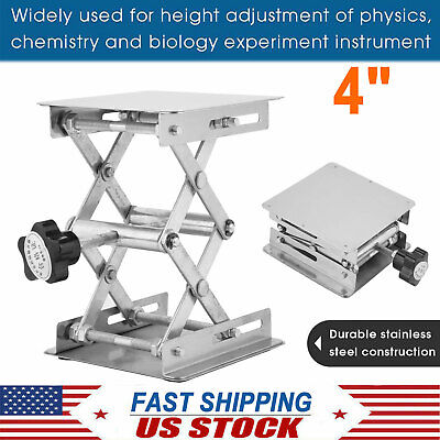 4 Stainless Steel Lift Desk Lab Stand Lifting Platform Rack Scissor Lab Jack Us
