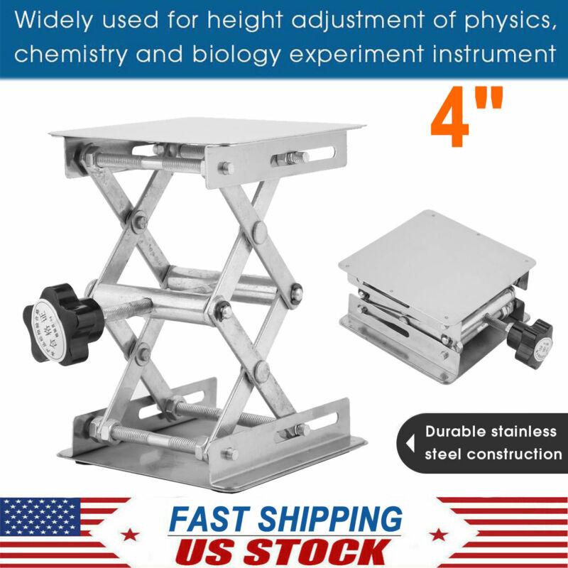"4"" Stainless Steel Lift Desk Lab Stand Lifting Platform Rack Scissor Lab Jack US"