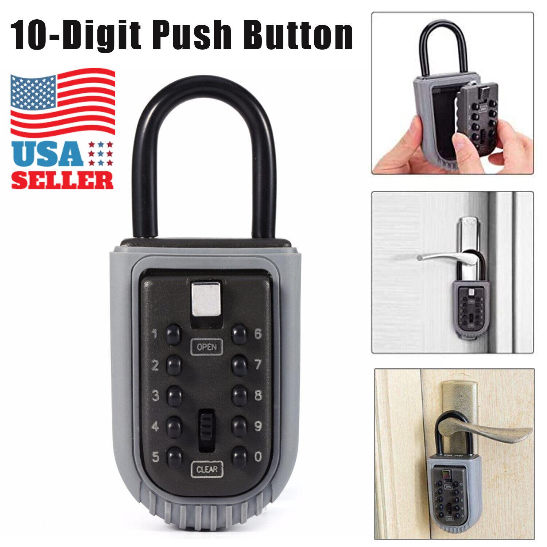 Portable Key Safe Box Lock 10 Digits Security Zinc Padlock Hide Keys Hang Door Access Control Equipment
