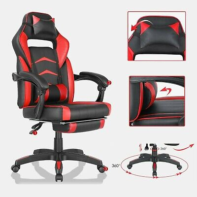 Gaming Chair Office Racing Style 180 Recliner Leather Swivel Computer Seat Us