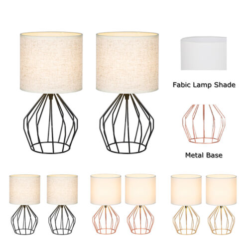 2Pcs Modern Table Lamp Gold Metal Base Linen Fabric Shade 3