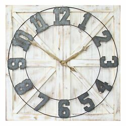 Stratton Home Decor Rustic Wood and Metal Farmhouse Mounted Wall Clock(Open Box)