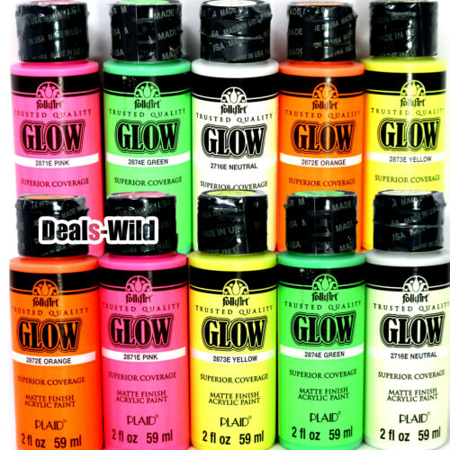 1 Glow In The Dark Matte Acrylic Paint Folk Art 2oz FolkArt + MANY COLORS