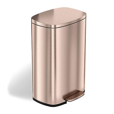 iTouchless 13.2 Gallon Odor Control Step Garbage Trash Can, Rose Gold (Open Box)
