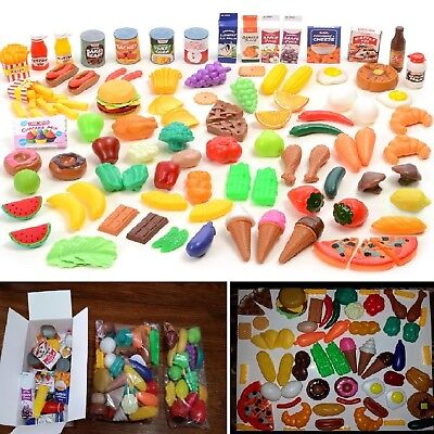 120 Piece Plastic Kitchen Set Food Play Pretend Kids Toys Beverages Grocery