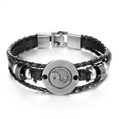 """MENDINO Men's Alloy Leather Bracelet Taiji Bagua Yin Yang Punk Bangle Black 8.5"""""""