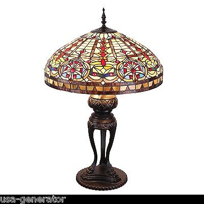 Vintage glass table lampebay 1 table lamp 3 light stained cut glass tiffany vintage style metal base 22wx 35 mozeypictures Gallery