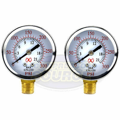 2 Air Compressor Pressure Hydraulic Gauge 2 Face Side Mount 14 Npt 0-300 Psi