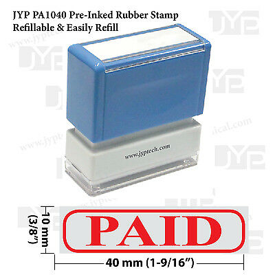 New Jyp Pa1040 Pre-inked Rubber Stamp W. Paid Frame Red Ink