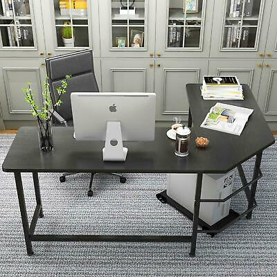 Computer Desk L Shaped Desk Laptop Table w/ CPU Stand Home Office Furniture