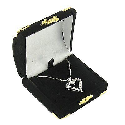 Black Velvet Pendant Box Display Jewelry Gift Box Treasure Chest Velour 1 Dozen](Treasure Chest Gift Box)