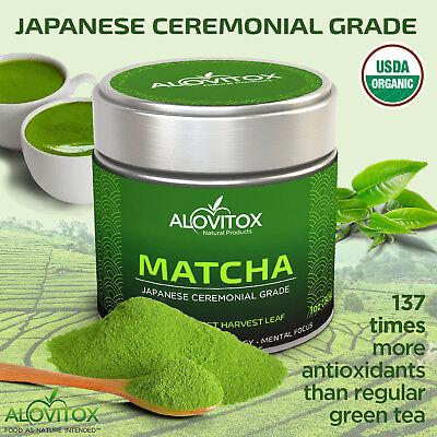 Japanese Matcha Green Tea Warrant Certified Organic Ceremonial Grade Alovitox 1oz