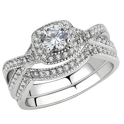 Cubic Zirconia Wedding (Stainless Steel Women's Infinity Wedding Ring Set Halo Round Cut Cubic)