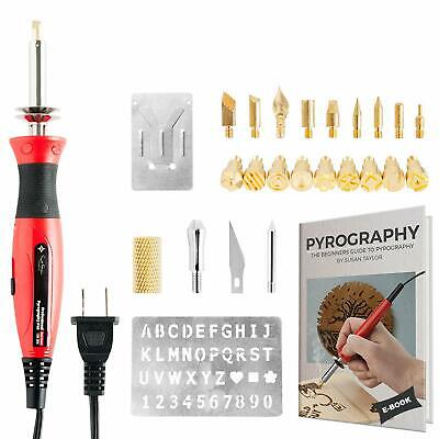 Wood Burning Kit + Free Beginners Guide Best Pyrography Pen/Woodburner Tool