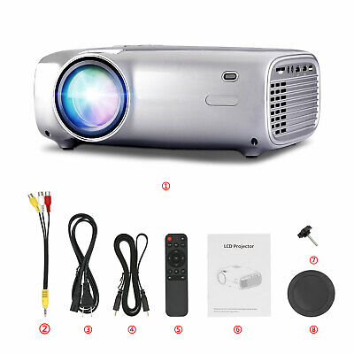 LED Smart Home Movie Theater Projector 1080P Multimedia Portable USB VGA AV